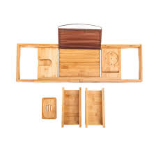 expandable bamboo bathtub rack bath caddy wine glass book tray holder bathroom bc 6026