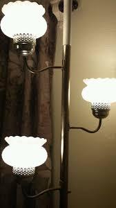 vintage retro mid century modern era 3 glass hobnail shade tension pole lamp