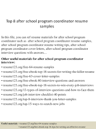 Top 8 After School Program Coordinator Resume Samples 1 638 Cb Best