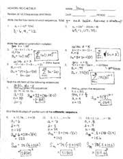 Arithmetic Sequence Worksheet Answers 8_1 8_3 Review Sequences And Series Answer Key Quot