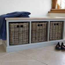 Wicker Basket Cabinet Storage Bench With Limed Oak Top And Wicker Baskets By Chatsworth