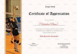 volleyball certificate template volleyball appreciation certificate design template in psd word