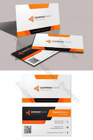 Namecard Format Modern Business Card Template With Orange And Black Shapes