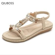 <b>QIUBOSS</b> 2019 New <b>Women'S Shoes Summer</b> Sweet Beaded ...