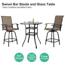 details about phi villa outdoor patio textilene swivel bar stools high bistro table set of 3