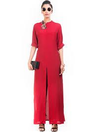 Designer Indian Tunics Red Crape Front Slit Long Tunic