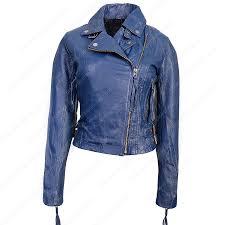 womens blue biker leather jacket