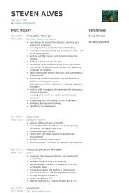 Resume Company Impressive Production Manager Resume Samples VisualCV Resume Samples Database