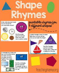 Shape Rhymes Printables Teaching Mama