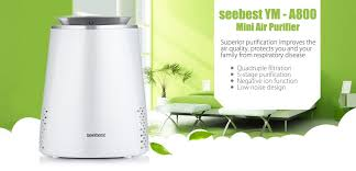 seebest ym a800 mini desktop air purifier 4 filters 5 stage purification anion function