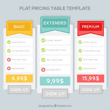 Pricing Table Templates Price Tables Templates In Flat Design Vector Free Download