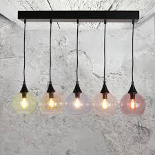 modern 5 light multicoloured glass pendant