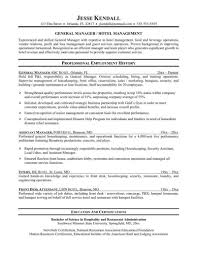 Hospitality Management Resume Samples Hotel Summary Front Desk