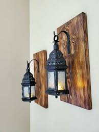 hanging lanterns rustic wall
