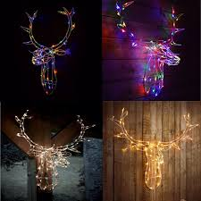 Deer Head Led Light Details About Reindeer Stag Head 80 Led Light Up Warm White Multi Colour Xmas Wall Decoration