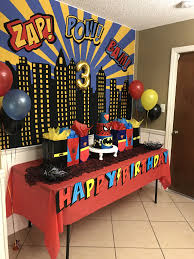 Cake Table For Batman Spider Man Superman Superhero Birthday Party