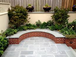 building a stone patio backyard feature blue stone patio curved bench jeff