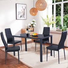 Costway 5 Piece Kitchen Dining Set Glass Metal Table and 4 Chairs ...