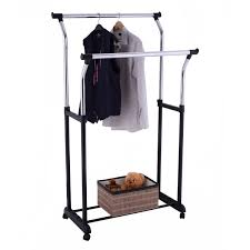 costway double rail adjule rolling garment rack clothes hanger laundry drying rack 0