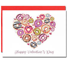 Valentine Cards Donuts Box Of 10 Cards Envelopes