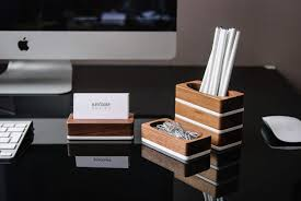 wood desk organizer set of walnut wood business card stand paper clip holder and pen holder