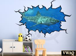 Peel And Stick Wall Decor Shark Wall Decal 3d Wall Art Peel And Stick Great White Shark