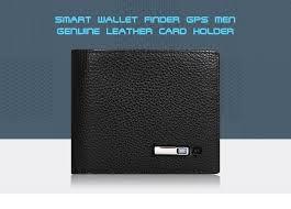 smartlb wallet finder smart tracker gps men genuine leather rechargeable card holder black