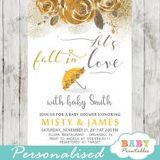 Fall Invitation Floral Yellow Fall In Love Baby Shower Invitations D344
