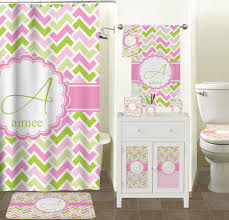 pink  green geometric shower curtain (personalized)  potty
