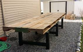 diy pallet outdoor dinning table. Assembled DIY Pallet Outdoor Dining Table Diy Dinning O