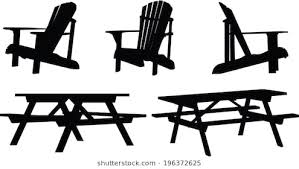 adirondack chair silhouette. Delighful Silhouette Silhouette Set Of Outdoor Picnic Tables And Chairs Intended Adirondack Chair Shutterstock