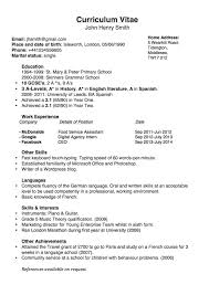 Ba English Sample Resume Curriculum Vitae Template Google Search Resumes Pinterest 9