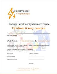 Electrical Work Completion Certificate Microsoft Word