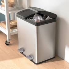 stainless steel kitchen trash can. W018047 KSP Duplex Double Step Garbage/Recycling Can Stainless Steel Kitchen Trash W