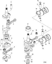 Mercury mariner 25 30hp 2 cyl 430cc international crankshaft pistons