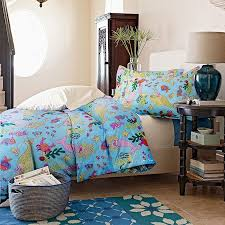 blue yellow and pink colorful little mermaid print ocean scene cute girls princess style full queen size bedding sets