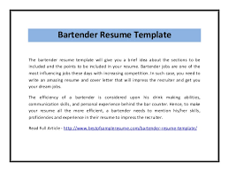 Resume Help For Bartenders