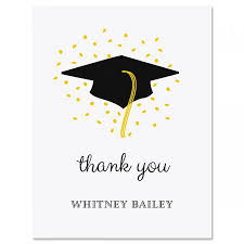 Graduation Thank You Note Confetti And Cap Graduation Personalized Thank You Cards
