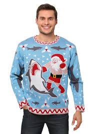 Santa vs Shark Men\u0027s Christmas Sweater Ugly Costume
