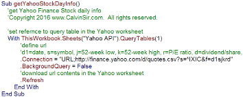 Yahoo Quotes 4 Awesome Stock Analysis With Access SQL And Excel VBA Yahoo Finance API