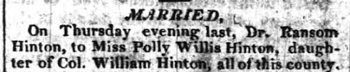 Dr. Ransom Hinton & Polly Willis Hinton (3 January 1811) - Newspapers.com