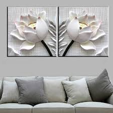 >2 pcs floral canvas wall art cheap oil paintings paintings for  3d white lotus flowers modern canvas art wall decor floral canvas wall art with