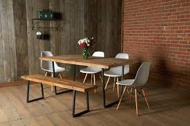 industrial modern furniture mid century modern rustic dining room white molded plastic chairs with wood legs industrial style bench