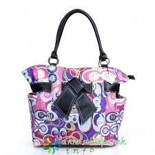 Coach Poppy Bowknot Medium Totes Fashion Purple