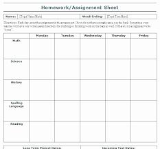 Weekly Homework Assignment Sheet Homework Sheet Templates 1 Budget Spreadsheet