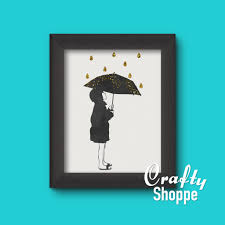 free printable art girl with umbrella and gold rain on girl with umbrella wall art with free printable wall art 8x10 watercolor girl in the gold rain