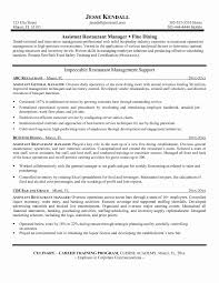Restaurant Resume Templates Fresh Unique Restaurant Manager Job