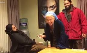 Wooden Spoon Game Prank Game Of Thrones' Emilia Clarke plays a prank on Joseph Naufahu in 79