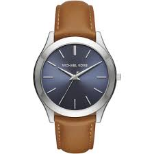 men 039 s slim runway tan leather strap watch