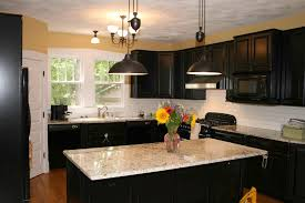Of Kitchens With Granite Countertops Picture Of Kitchen Design With Dark Cabinet And Patterned Granite